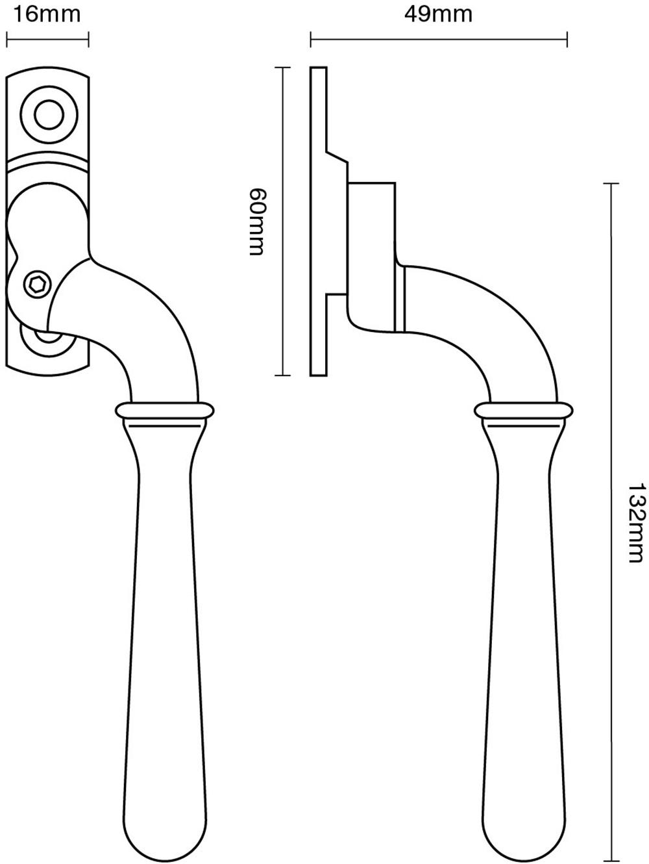 Lockable Bulb End Window Espagnolette Handle – Narrow Style