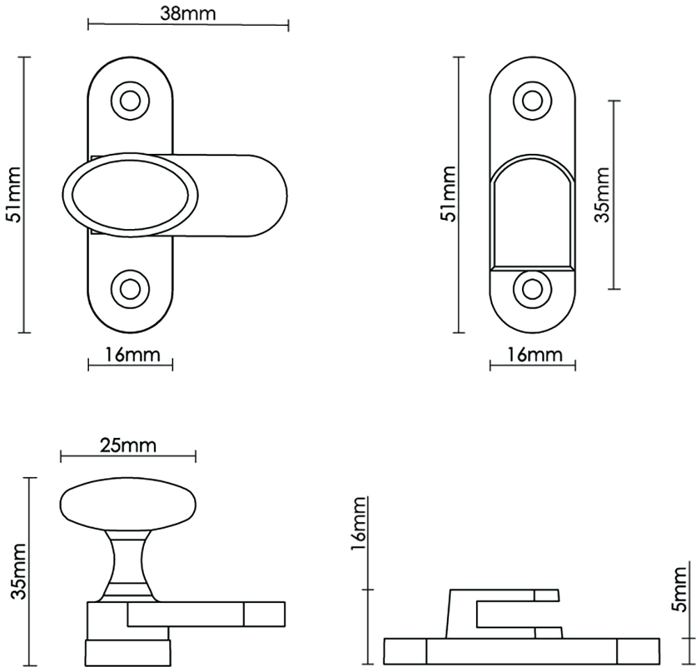 Oval Knob Cabinet Catch 25mm