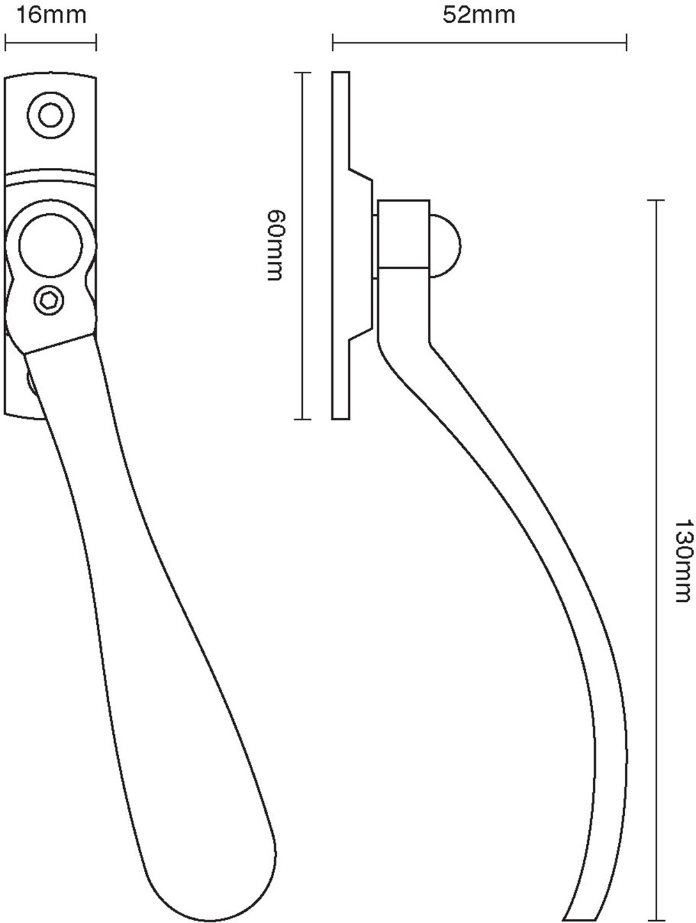 Lockable Window Espagnolette Handle – Spoon End – Narrow Style