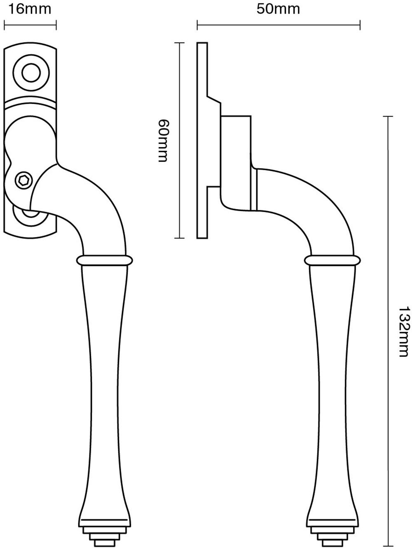 Lockable Fairmont Window Espagnolette Handle – Narrow Style