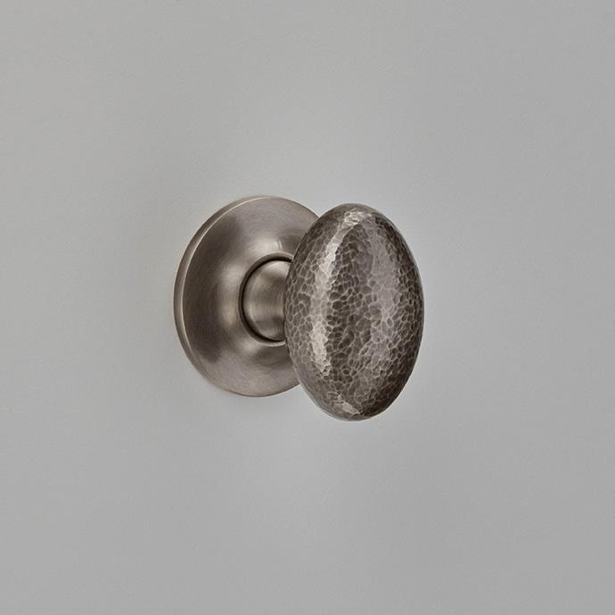Hammered Oval Knob on Plain Covered Rose